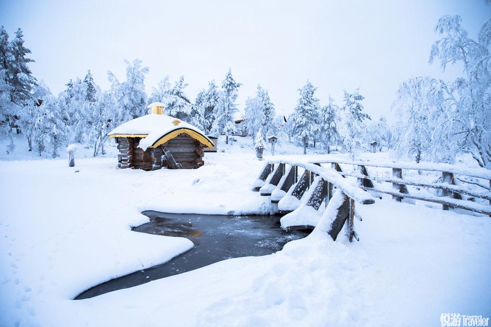 """12月,拉普兰已经没有完整意义上的白天,这些巨大的""""雪树""""是森林中被飞雪完全覆盖着的树木,在泛着蓝光..."""