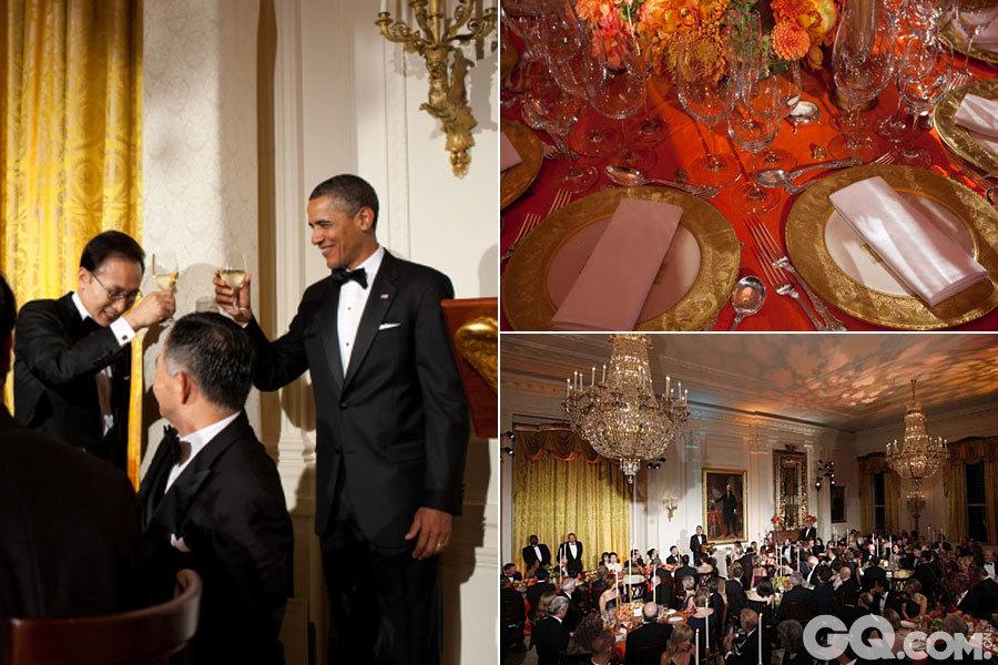 美国白宫2011年10月13日迎来了韩国总统李明博的访问。当天晚上,奥巴马设国宴款待李明博。白宫官网在介绍国宴菜品时说,当晚的菜品是当地最好的食材和韩国传统风味结合的成果。   第一道菜是南瓜浓汤,由白宫菜园种植的南瓜、白宫蜂箱生产的蜂蜜和当地购买的香葱制作而成。   第二道菜是秋收沙拉,包括白宫自产的生菜和萝卜,配以鱼籽米饭以及芝麻调味汁。   主菜是美国得克萨斯烤牛排,配以白宫自产以及华盛顿当地的青菜。   随后的甜点是经典巧克力蛋糕。