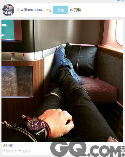 陈伟霆ins发布照片 佩戴爱彼皇家橡树离岸型腕表 。