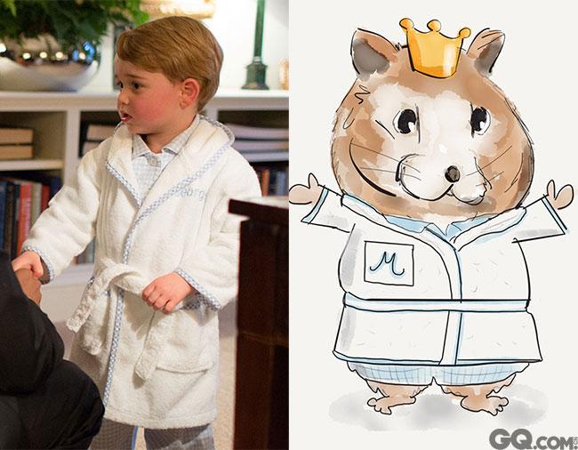 乔治小王子会见奥巴马的睡衣形象也被搬上了卡通体,因为他见完美国总统就要上床睡觉了。所以,特别淡定。