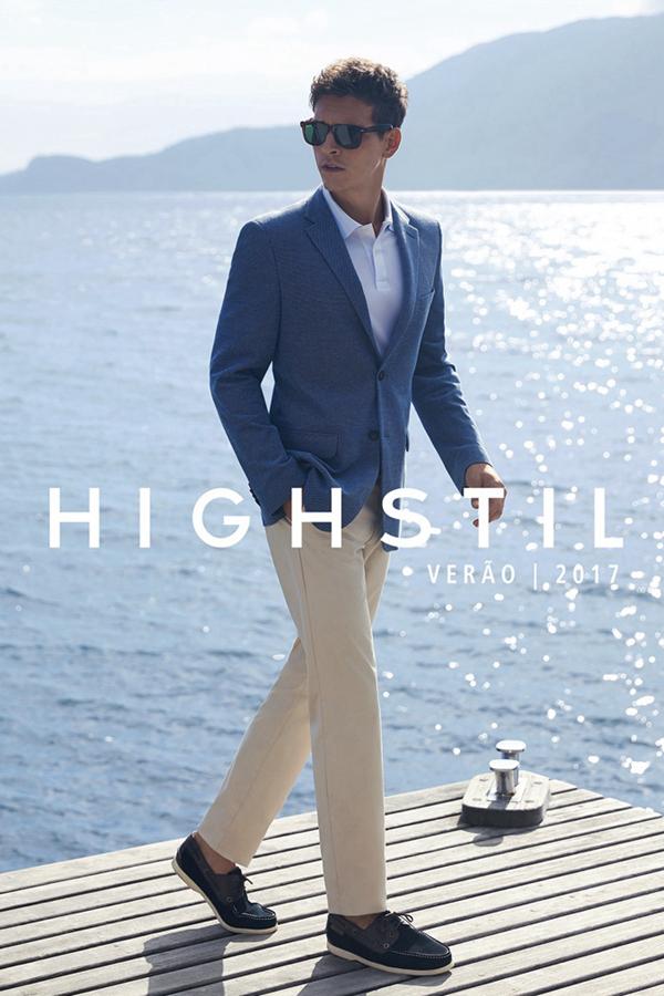 Highstil本季邀请到巴西男模Alexandre Cunha,在洒满阳光的海边沙滩上拍摄了2017春夏广告大片,同时推出了休闲与正装系列。既有色彩艳丽的POLO衫与印花短裤,也有椰影下的灰色西装,优雅而梦幻。