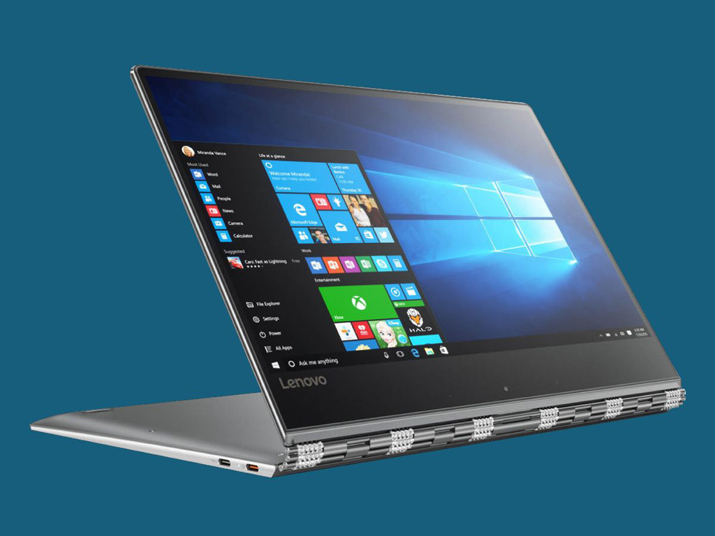 NO.6联想Yoga 910 联想Yoga 910拥有全新的铰链设计,可以当做笔记本和平板使用。四条金属导轨大大改善了屏幕晃动情况,而且屏幕的分辨率是4K,不过风扇的问题是一个不小的遗憾。