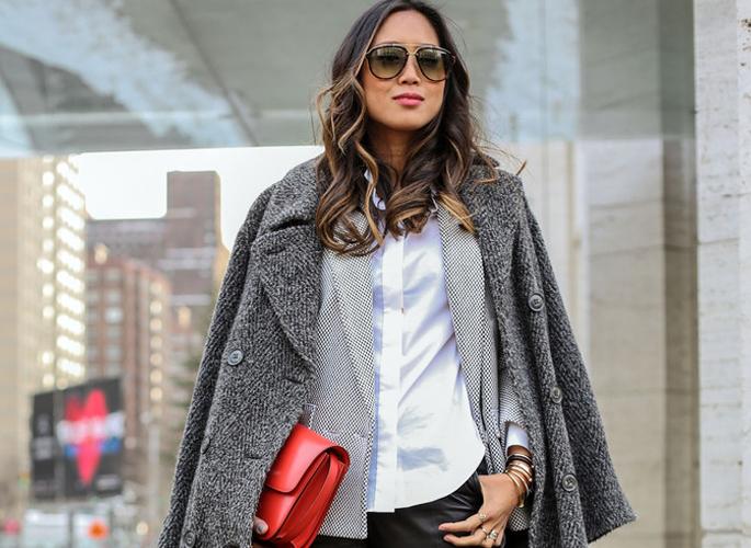 西装加大衣穿出冬天的层次