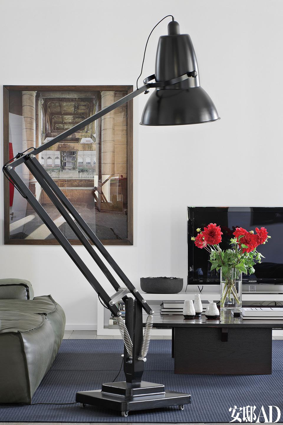 客厅中,灰绿色的皮沙发来自Baxter品牌,工业感的Giant 1227 落地灯来自Anglepoise,宜家家居的灰蓝色地毯上还摆着一张木制咖啡桌,后方墙上挂着的摄影作品 Stéphane Couturier创作。