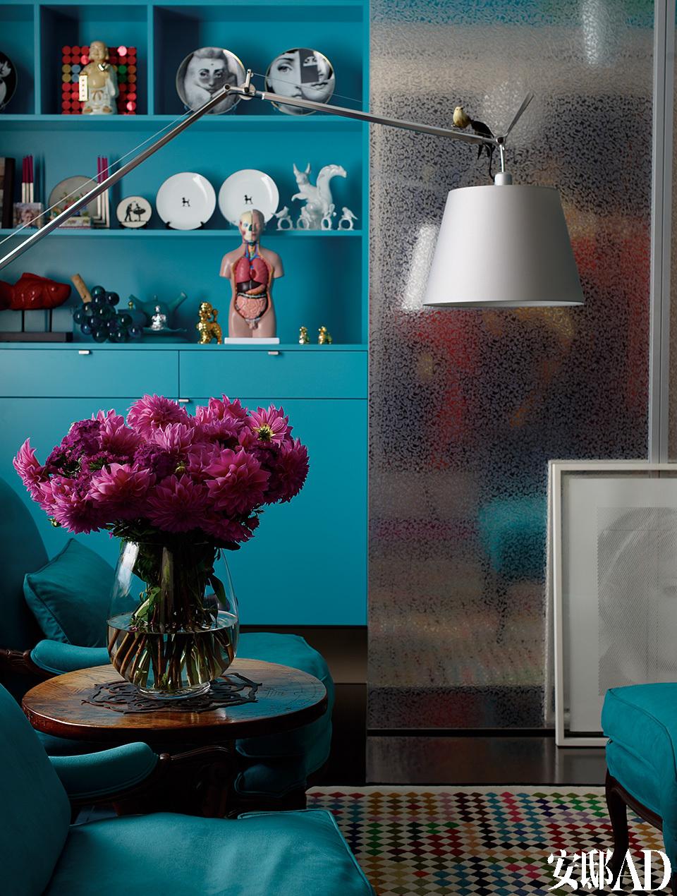 储物架上的解剖学模型来自香港,餐盘来自Fornasetti。储物柜为银色轧花层压板材质,来自Abet Laminati,墙面选用了多乐士的Turquoise Tiara涂料。