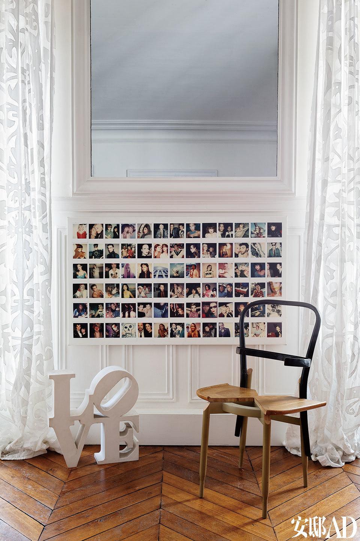 """""""人与人之间终究不可能完全彼此懂得。但那么一刻的心领神会,也是一种生命的温柔。""""在Maripol宝丽来相机系列照片的前面,摆放着Martino Gamper设计的椅子和Robert Indiana的雕塑作品《LOVE》。"""