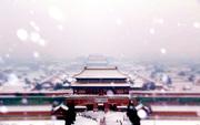 北京大部迎初雪,从景山拍摄的故宫中轴线。