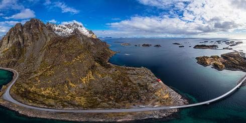 挪威亨寧斯韋爾海島大橋高空全景
