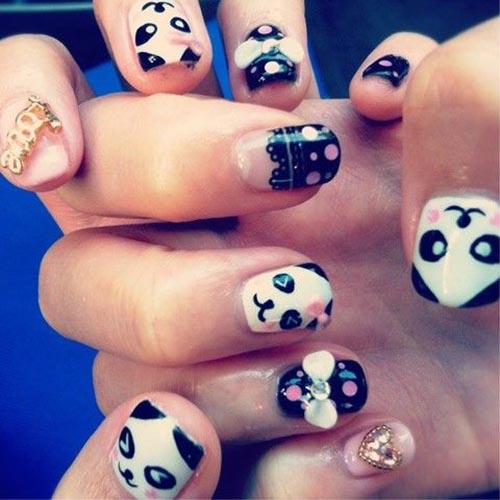 萌萌的熊猫美甲,潮流girl都在画