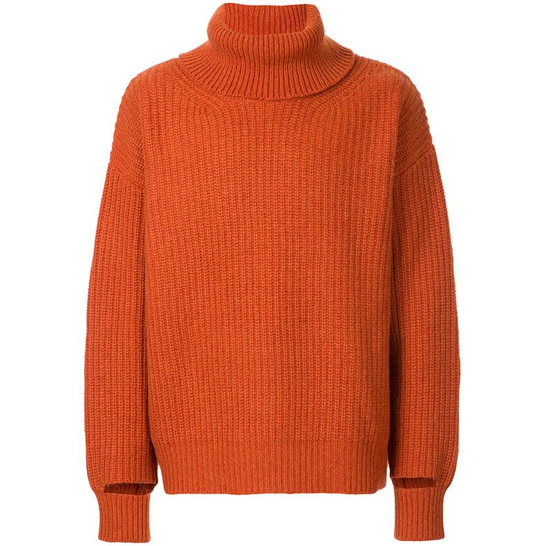 暖心的橘红色高领衫