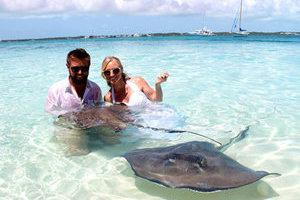 最前卫的婚礼:在刺鳐和鲨鱼的环绕下喜结连理