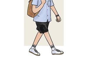 每日穿搭|双条纹袜配Camp-Collar衬衫的童趣时尚