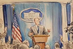 因为不让摄像,CNN直接把速写师派去了白宫新闻发布会