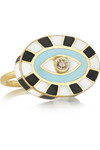 18K 黄金、搪瓷、钻石戒指