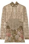 刺绣印花绢网和蕾丝女衫