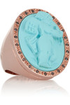 人造绿松石、钻石、小天使丘比特造型镀玫瑰金戒指