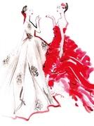 迪奥2012春夏高级订制插画赏:真人插画哪个更美?