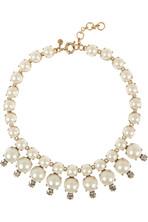 Royal 人造珍珠和方晶锆石金色项链