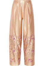 刺绣缎布阔腿裤