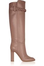 麻花编织细节皮革及膝长靴