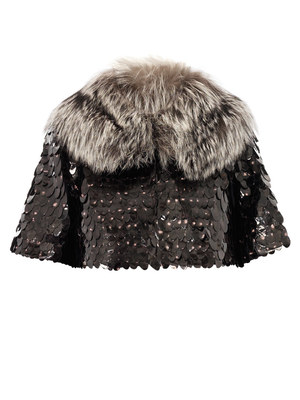 Owl sequin cropped fur jacket