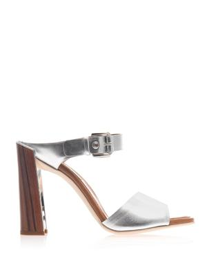 Double strap metallic sandals