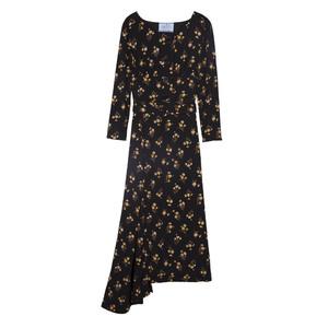 Prada普拉达2013秋冬系列黑色印花连衣裙