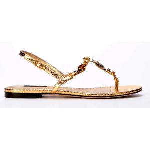 Dolce&Gabbana杜嘉班纳2014春夏系列金色平底凉鞋