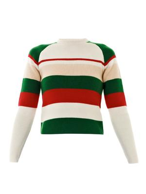 Striped crew-neck knit sweater