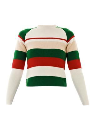 Striped crew-neck knit sweater