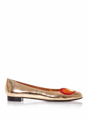Bug Eyes metallic leather flats
