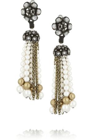 金色水晶、施华洛世奇珍珠夹扣式耳坠
