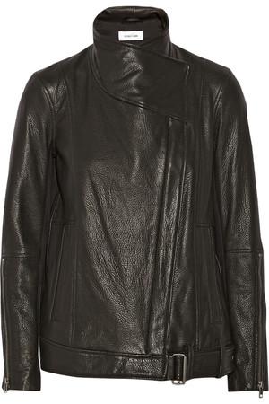 纹理皮革机车夹克