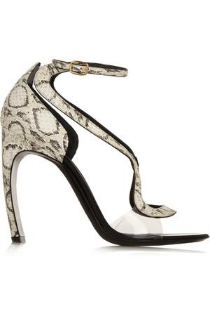 锦蛇皮和醋酸树脂凉鞋