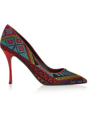 Mexican 刺绣漆皮高跟鞋