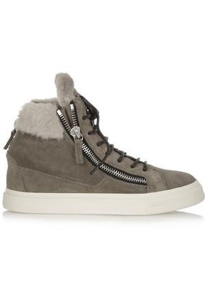 London 绒面革和羊毛皮高帮运动鞋