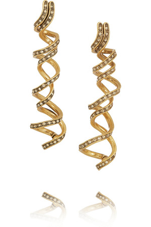 Spiral 水晶镀金耳环