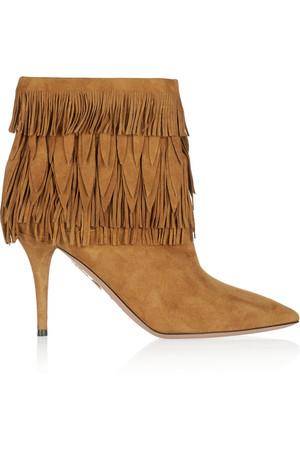 Sasha 流苏绒面革及踝靴