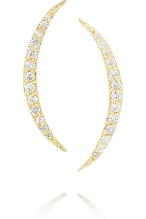 Crescent 14K 黄金钻石耳环