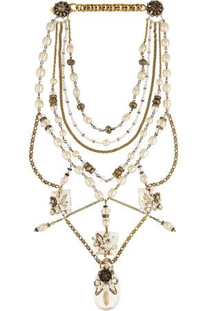 Ballroom Dancing 人造珍珠和施华洛世奇水晶镀金项链