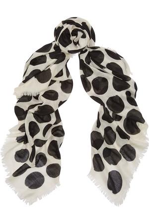 波点羊绒真丝混纺围巾