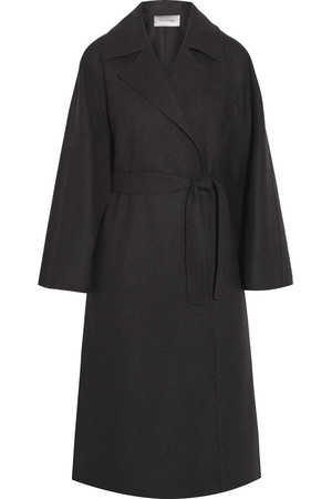 混纺羊毛毡裹身外套
