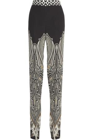 涡纹图案印花真丝阔腿裤