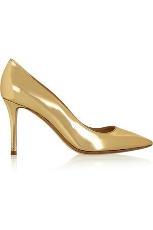 金属色皮革高跟鞋