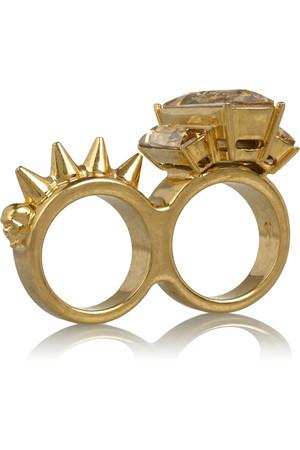 施华洛世奇水晶金色连指戒指