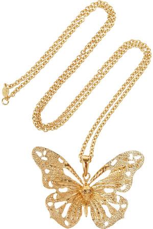 施华洛世奇水晶蝴蝶造型吊坠金色项链