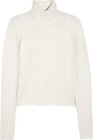 马利诺羊毛混纺毛圈花式线高领毛衣