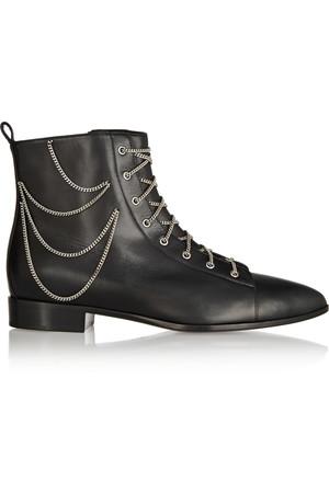 链条装饰绑带式皮靴