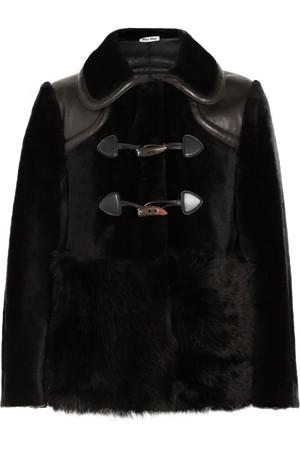 皮革边饰羊毛皮直筒外套