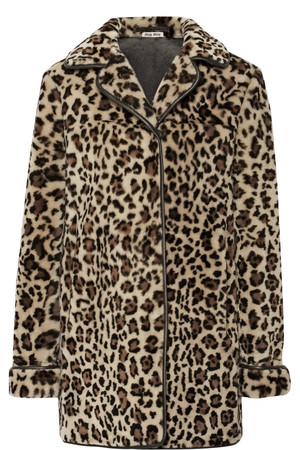 豹纹羊毛皮外套